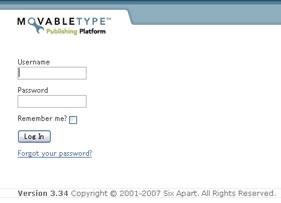 Movable Type 3.34 英語版ログイン画面