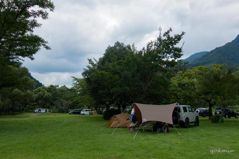 夏休みはJIMNYで上島キャンプ場